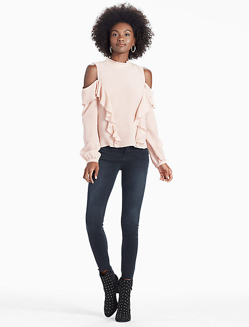 Lucky Cold Shoulder Ruffle Blouse