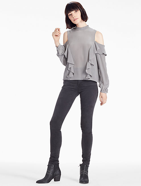 COLD SHOULDER RUFFLE BLOUSE, STEEL GRAY