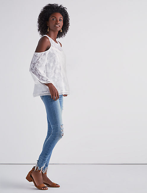 COLD SHOULDER JAQUARD TOP,