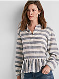 LONG SLEEVE STRIPE PEPLUM TOP,