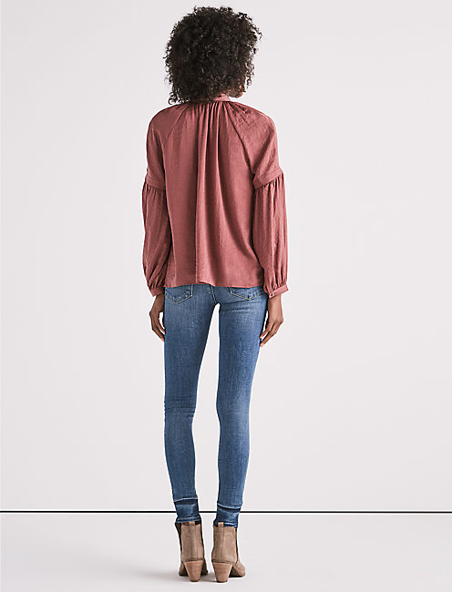 BLOUSON SLEEVE JENNA PEASANT TOP,