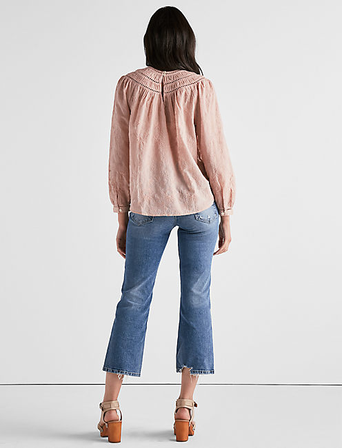 EMBROIDERED ROW NECK TOP,