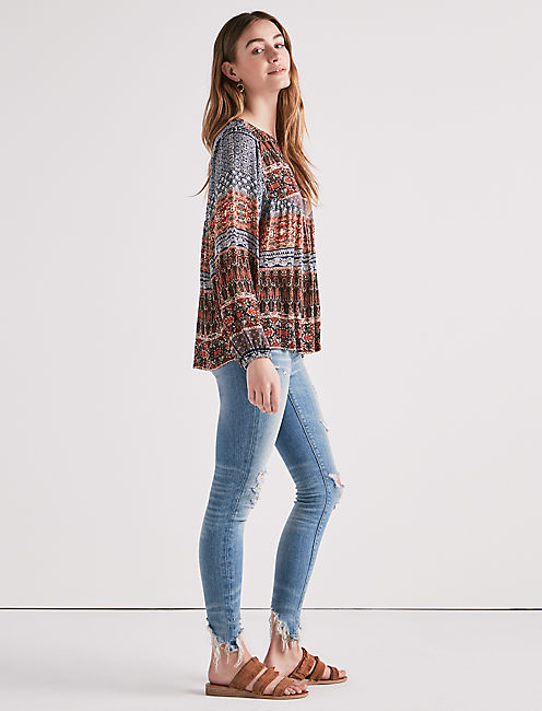 Lucky Border Print Peasant Top