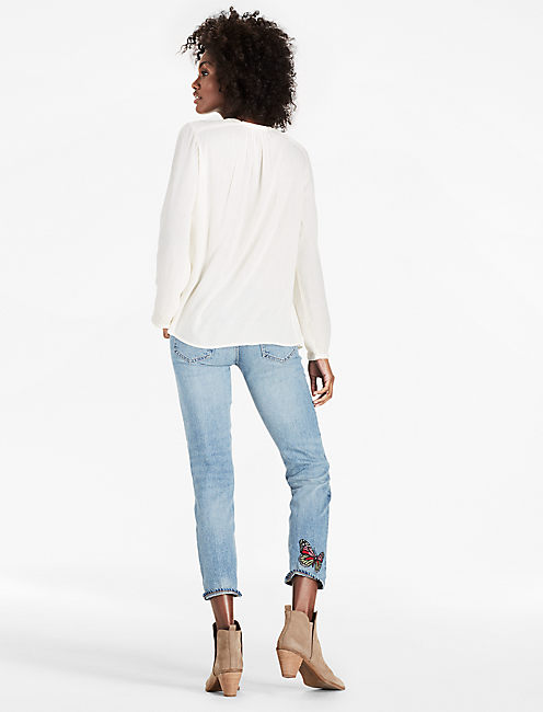 SLIT SLEEVE PEASANT TOP,