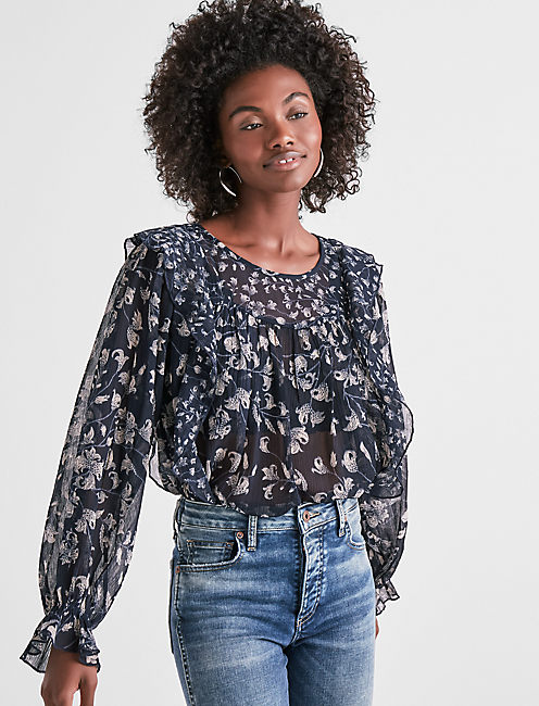 FLORAL PRINT RUFFLE TOP,