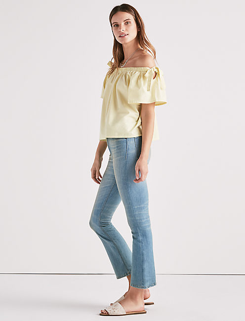 Lucky Poplin Off Shoulder Top