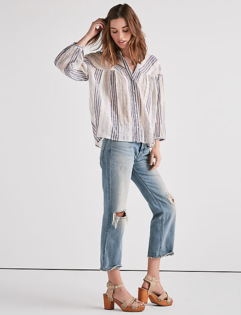 Lucky Stripe Textured Pleasant Top