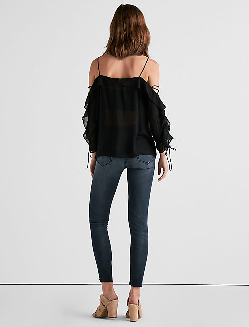 KELLY COLD SHOULDER TOP, 001 LUCKY BLACK