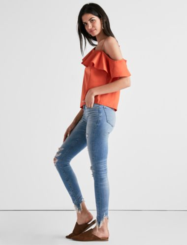 Lucky One Shoulder Ruffle Top