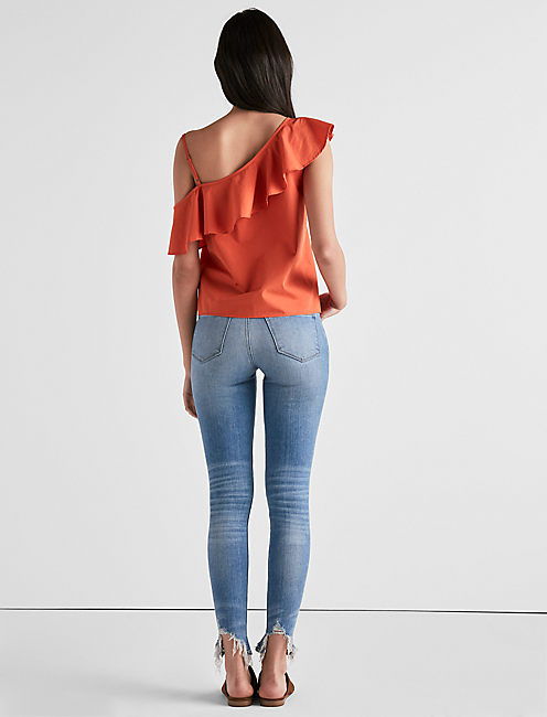 ONE SHOULDER RUFFLE TOP,