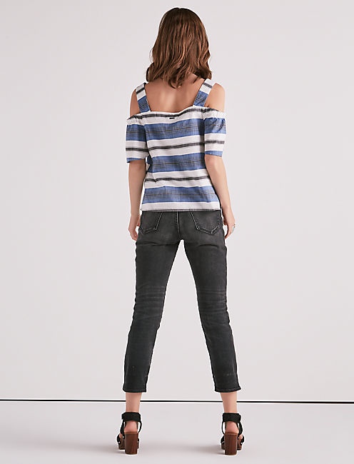 STRIPE COLD SHOULDER TOP,