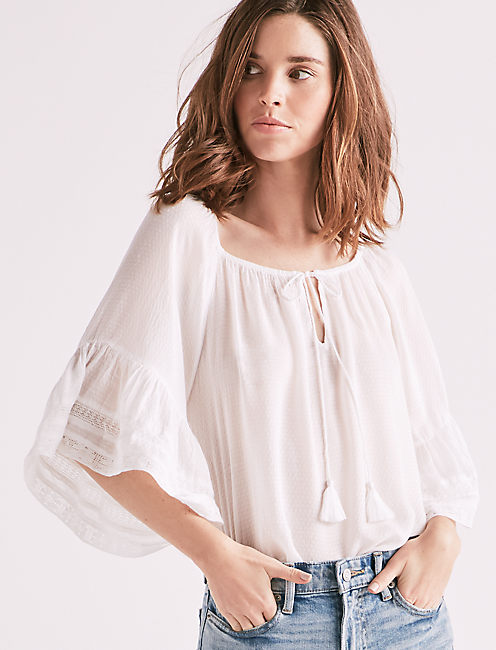 BELL SLEEVE PEASANT TOP, LUCKY WHITE