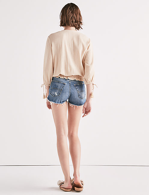EMBROIDERED TASSEL TOP, BEIGE