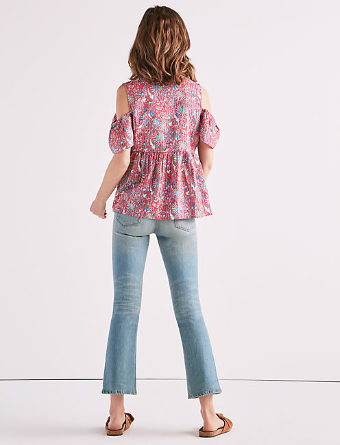 PRINTED COLD SHOULDER TOP,