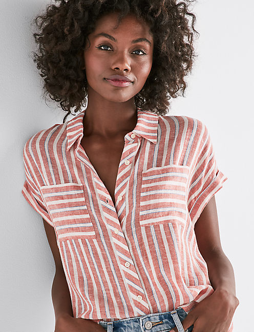 TIE BACK STRIPE SHIRT,
