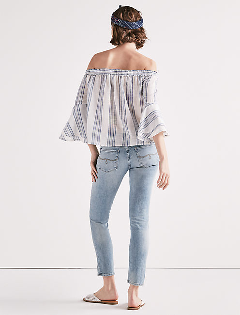 OFF SHOULDER STRIPE TOP, BLUE MULTI