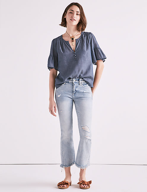 SHORT SLEEVE CHAMBRAY TOP,
