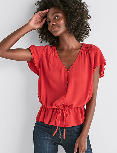 IT GIRL FLUTTER SLEEVE TOP,