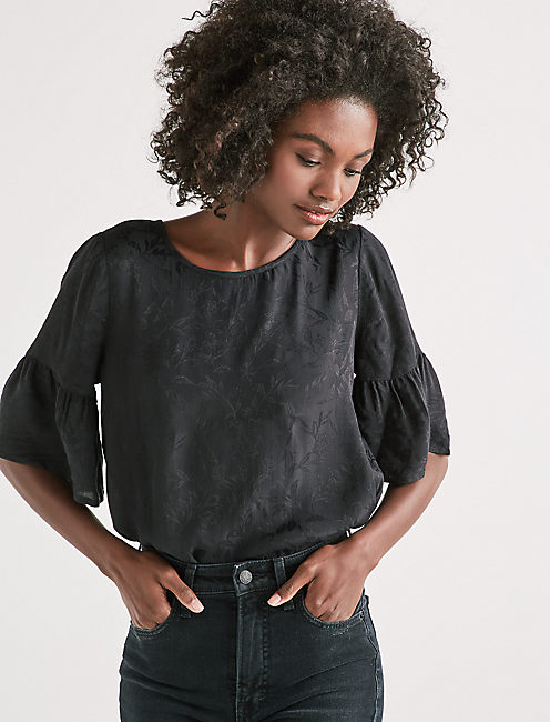 JACQUARD RUFFLE SLEEVE TOP,