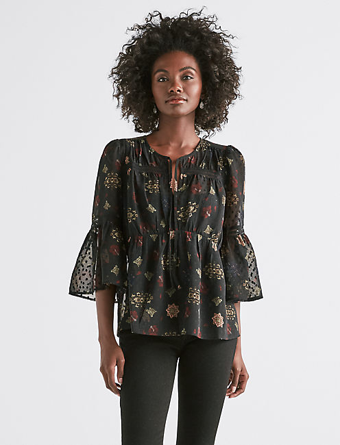 SWISS DOT FLORAL TOP,