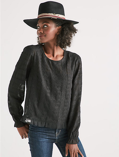LONG SLEEVE LACE TOP,