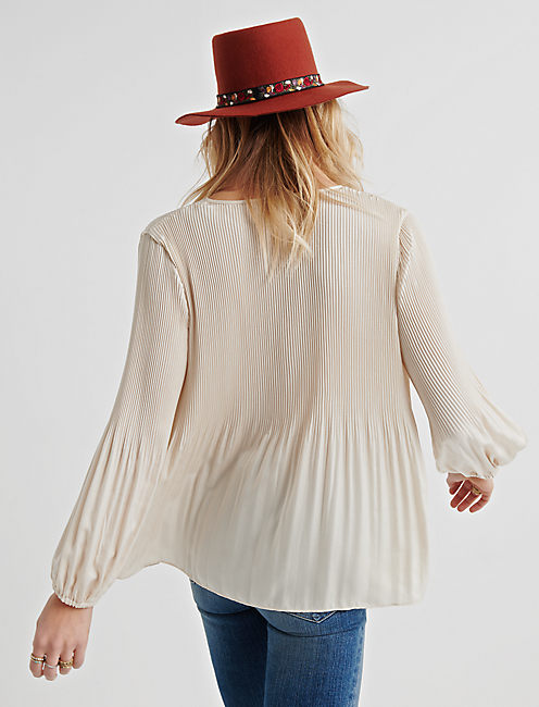 PLEATED PEASANT TOP, BIRCH