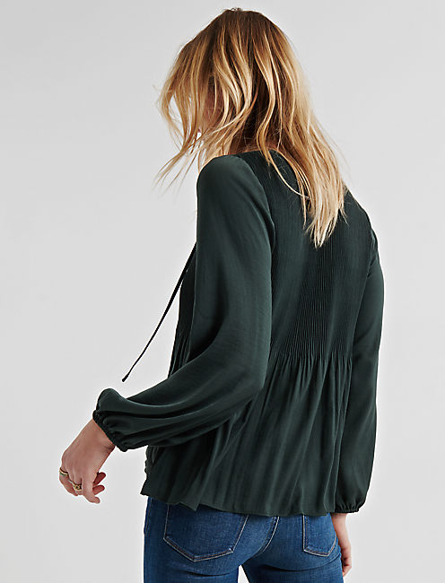 PLEATED PEASANT TOP, DEEP FOREST
