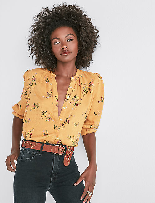 PRINTED PUFF SLEEVE SHIRT,