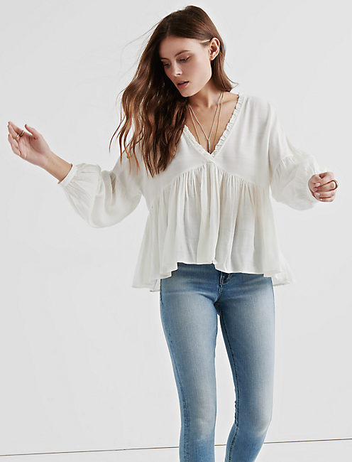 Lucky Romantic Peasant Ruffle Top