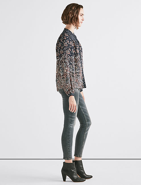 Lucky Mixed Print Yoke Peasant Top
