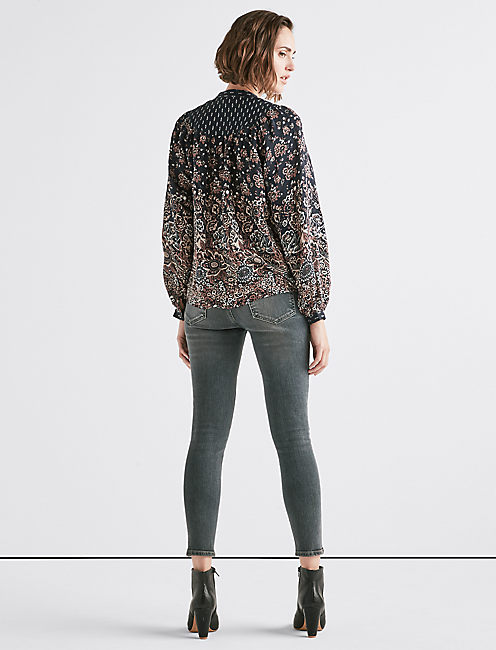 MIXED PRINT YOKE PEASANT TOP,