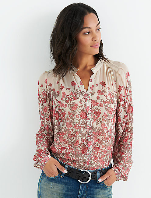 FADED FLORAL BUTTON DOWN SHIRT,