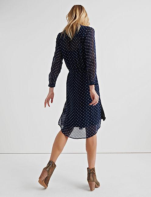 SHEER PRINT SHIRT DRESS, NAVY MULTI