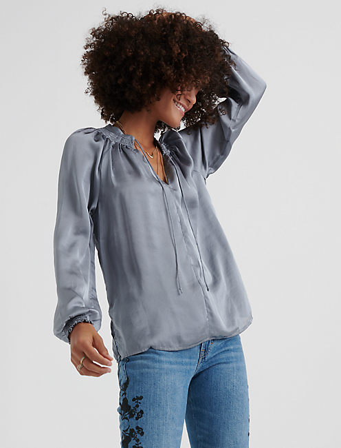 SATIN PEASANT TOP, TRADEWINDS(15-4307)