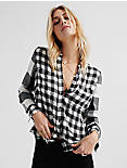 PLEAT BACK MIXED PLAID,