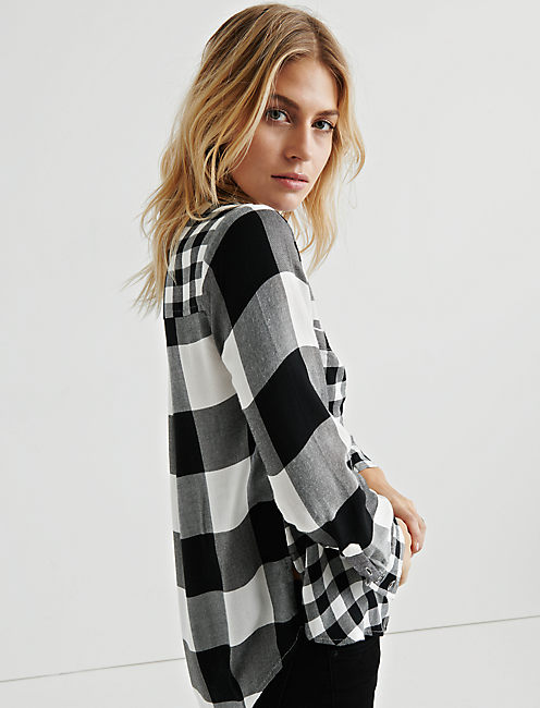 Lucky Pleat Back Mixed Plaid
