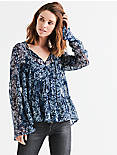 PRINTED TOP, NAVY MULTI