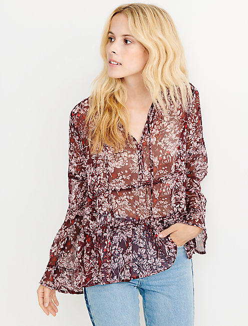 PRINTED TOP, BURGUNDY MULTI