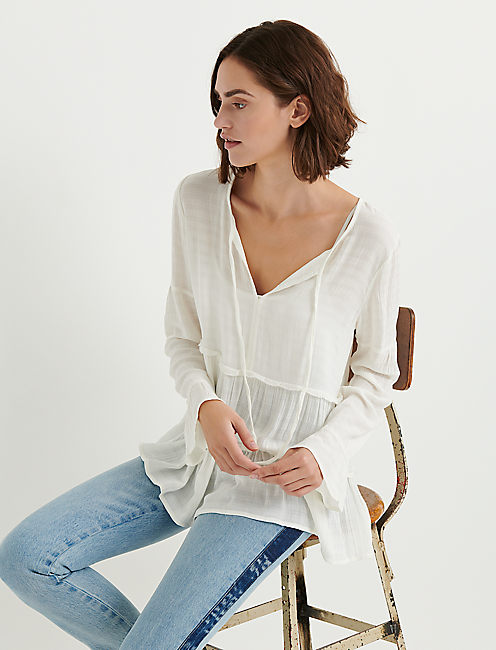 SOLID PEASANT TOP, MARSHMALLOW