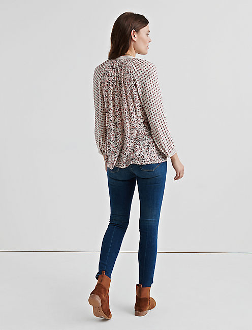 BORDER PRINT PEASANT TOP, NATURAL MULTI