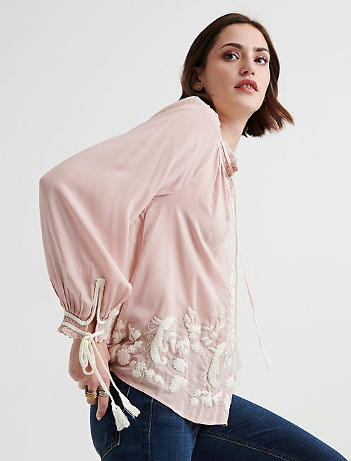 Lucky Embroidered Peasant Top