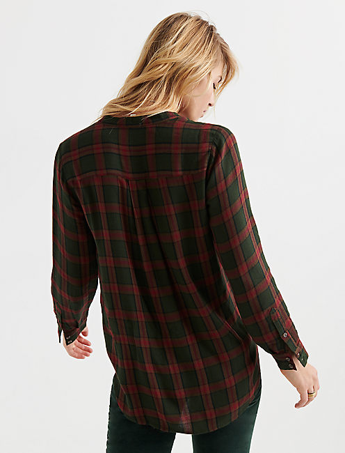 POPOVER TUNIC PLAID, OLIVE MULTI