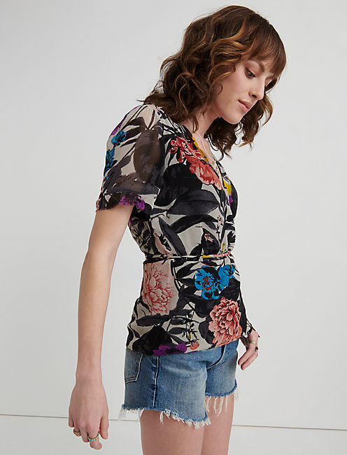 Abstract Floral Wrap Shirt