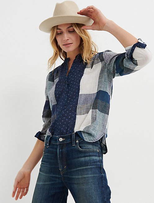 MIXED PLAID POPOVER, NAVY MULTI