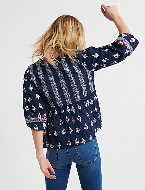 MIXED BANDANA PRINT TOP, NAVY MULTI