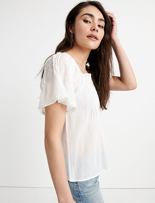 Embroidered Flutter Sleeve Top