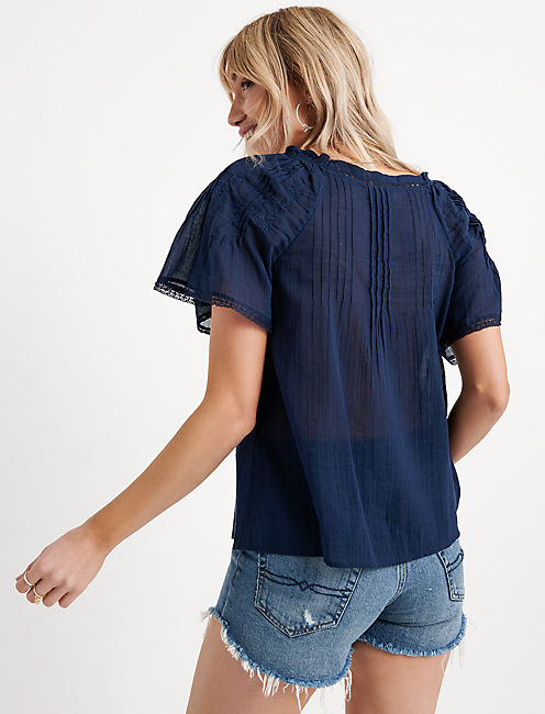 EMBROIDERED FLUTTER SLEEVE TOP, AMERICAN NAVY
