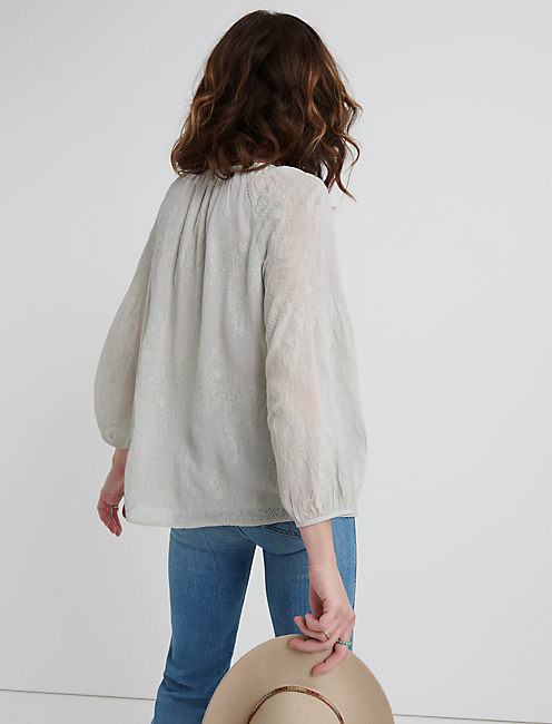 GEO EMBROIDERED BUTTON THROUGH PEASANT, PALE BLUE