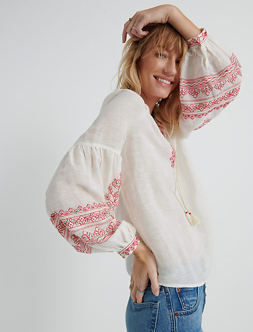 Embroidered Yoke Peasant Top