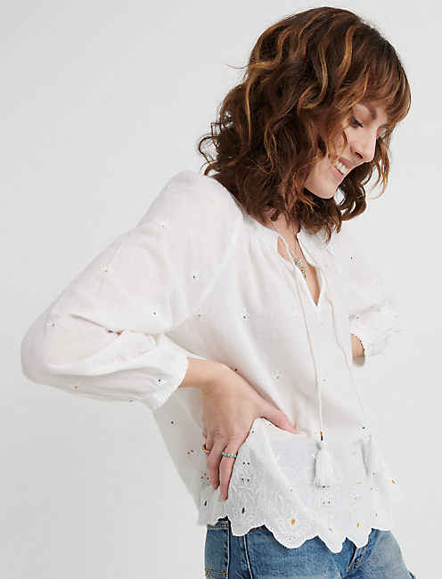 Eyelet Scalloped Edge Peasant Top